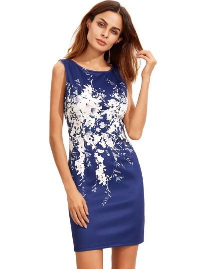 Blaues Sleeveless Weinlese-Druck-Kleid