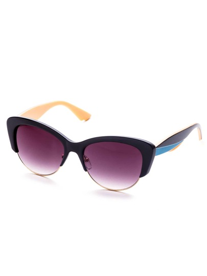 Purple Lens Open Chunky Frame Blue Arm Sunglasses