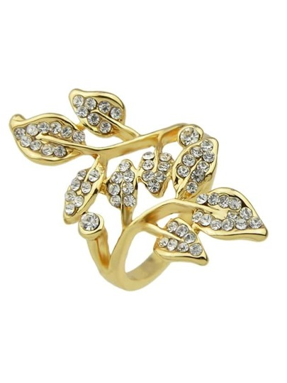 Gold New Arrivals Rhinestone Leaf Shape Big Finger Ring