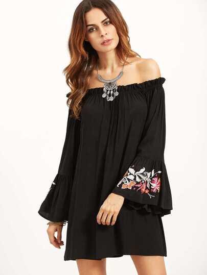 Black Embroidered Bell Sleeve Off The Shoulder Dress