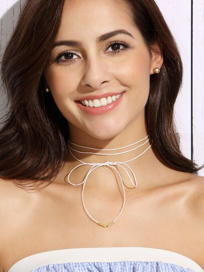 White Bow Fine Wrap Choker Necklace