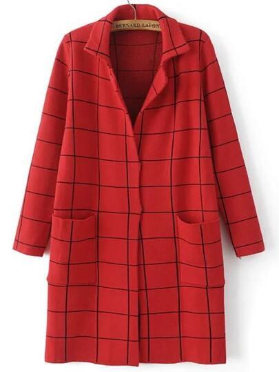 Red Grid Notch Lapel Hidden Placket Sweater Coat