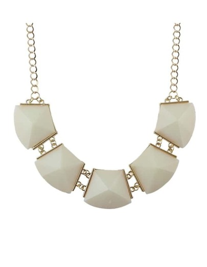Beige Acrylic Stone Collar Necklace