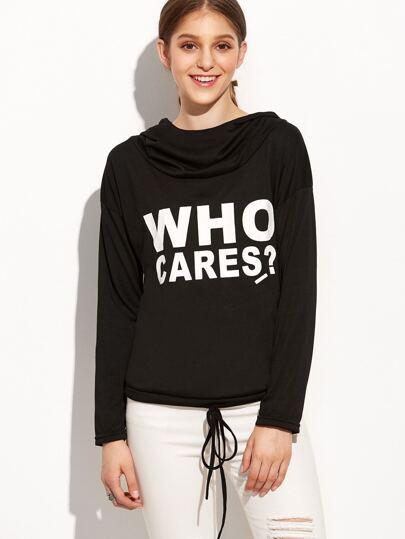 Black Letter Print Drawstring Hem Hooded Sweatshirt