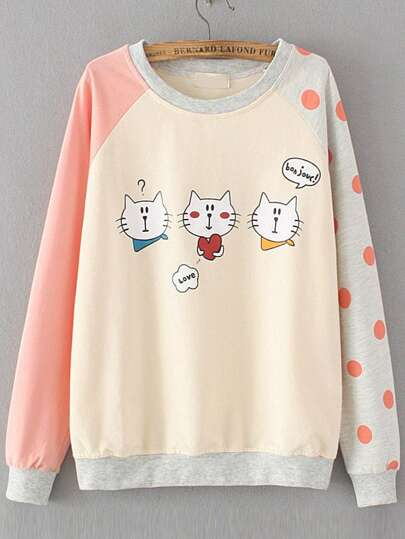Color Block Cat Print Raglan Sleeve Sweatshirt
