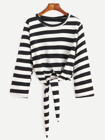 Contrast Striped Tie Front T-shirt