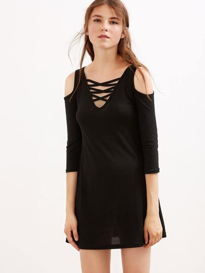 Black Open Shoulder Lattice Front Dress