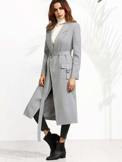 Abrigo con hebilla y cinturón - gris