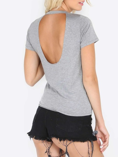Gray Short Sleeve Distressed Backless T-shirt