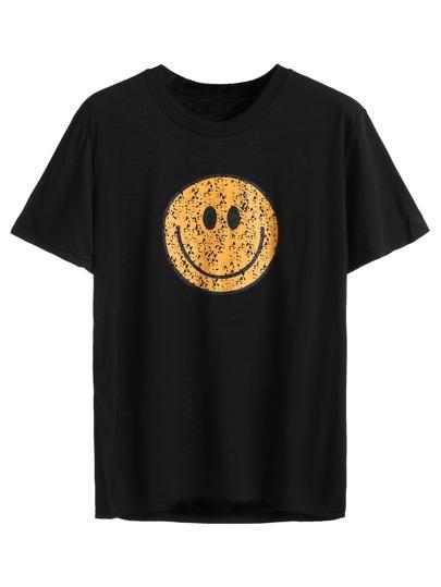Black Smile Face Print T-shirt
