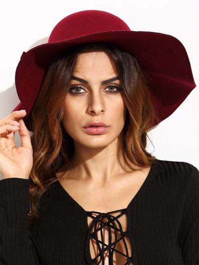 Chapeau de paille à large bord vintage - rouge bordeaux