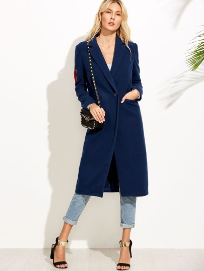 Navy One Button Duster Coat With Lovely Patch
