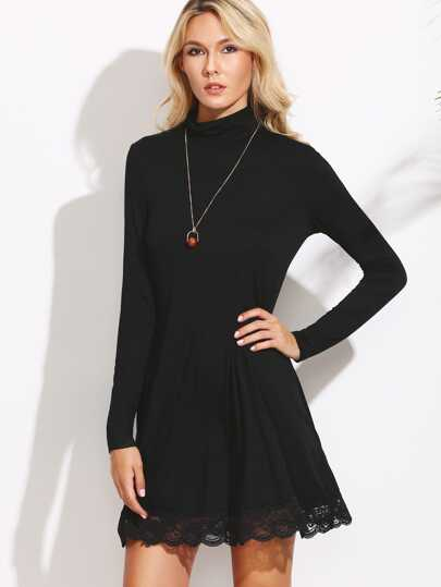 Cowl Neck Lace Trim Shift Dress