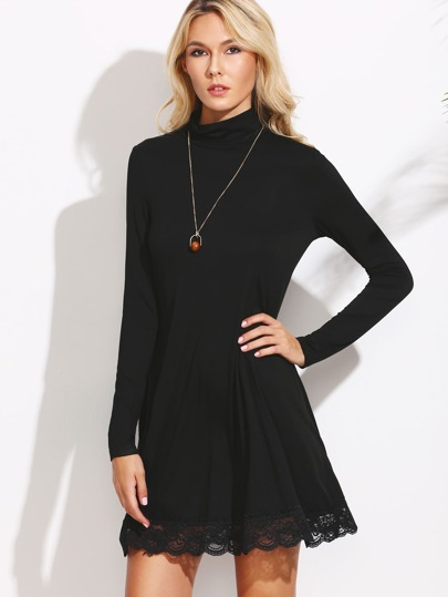 Black Cowl Neck Lace Trim Shift Dress