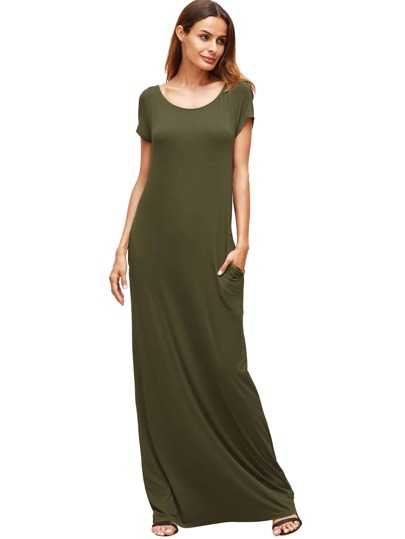 Army Green Pocket Short Sleeve Maxi Dress