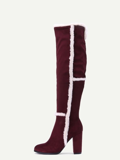 Burgundy Faux Suede Point Toe Knee High Boots