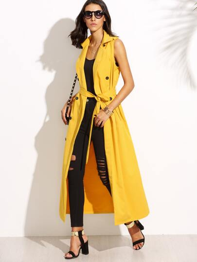 Yellow Lapel Tie Waist Sleeveless Long Outerwear