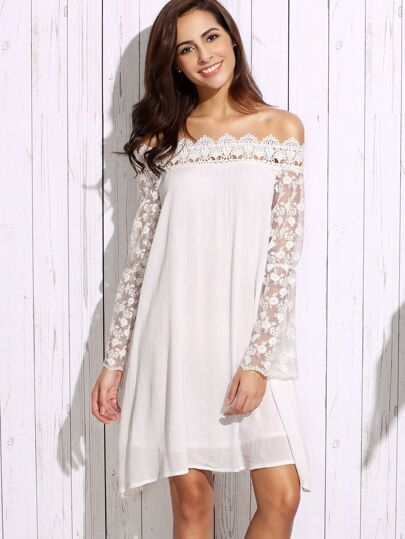 White Off The Shoulder Appliques Lace Sleeve Shift Dress