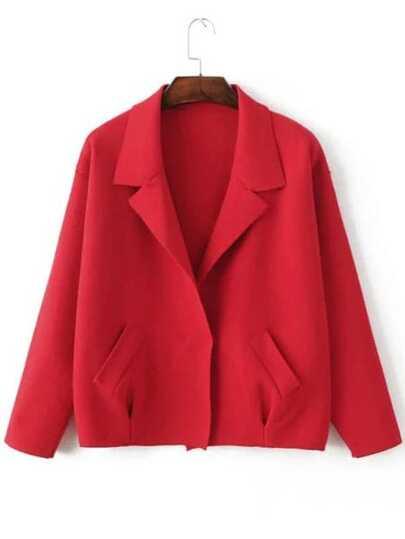 Red Shawl Collar Hidden Button Sweater Coat