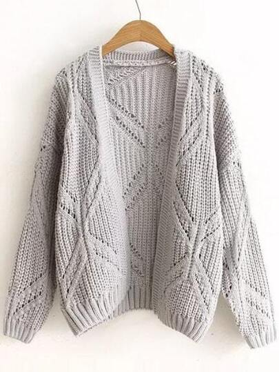 Grey Textured Hollow Out Collarless Cardigan