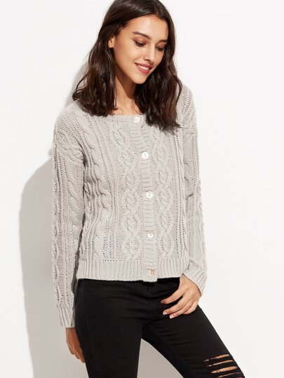 Grey Buttons Dip Hem Sweater