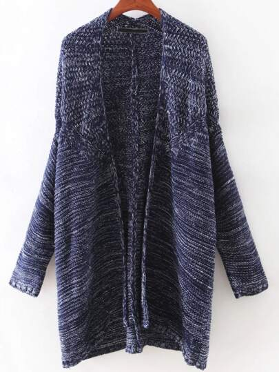 Navy Bat Sleeve Long Cardigan