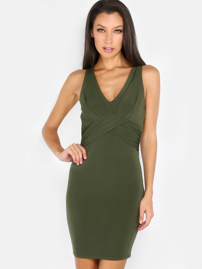 V Neck Ruched Bodycon Dress OLIVE