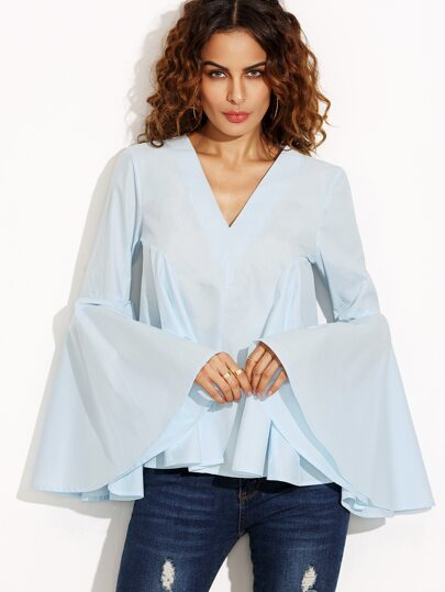 Light Blue Big Bell Sleeve V Neck Blouse