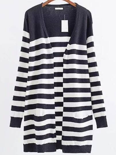Black Striped Ribbed Trim Open Front Long Cardigan
