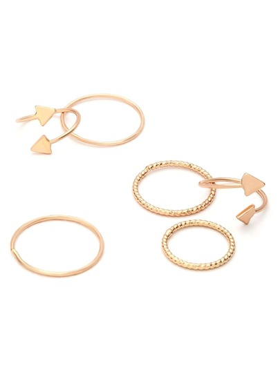 3PCS Gold Plated Triangle Spiral Ring Set