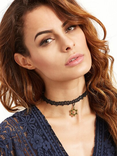 Black Hexagram Pendant Lace Choker Necklace