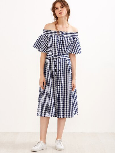 Navy Gingham Belted Button Up Off The Shoulder Dress