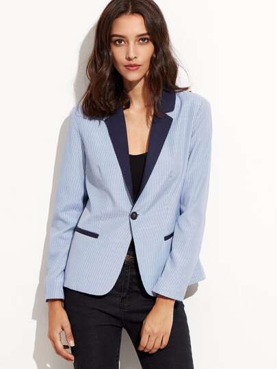 Blue Vertical Striped Contrast Collar Blazer