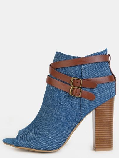 Strappy Denim Peep Toe Chunky Heel Boots BLUE DENIM