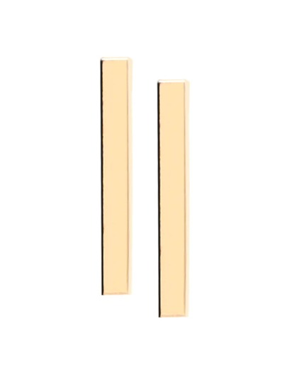 Gold Plated Rectangle Simple Stud Earrings
