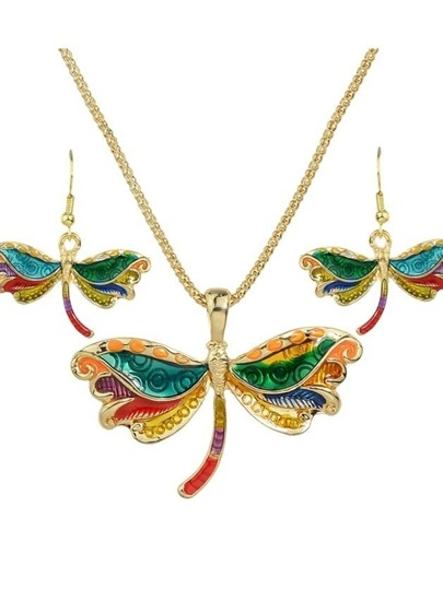 Gold Enamel Butterfly Pendant Necklace Drop Earrings Jewelry Set