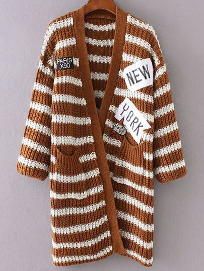 Khaki Striped Embroidered Patch Pocket Long Sweater Coat