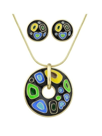 Black Enamel Geometric Pattern Round Necklace Earrings Set