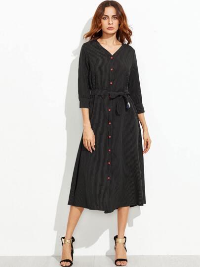 Black Vertical Striped V Neck Self Tie Shirt Dress
