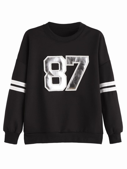 Black Numbers Patch Varsity Sweatshirt