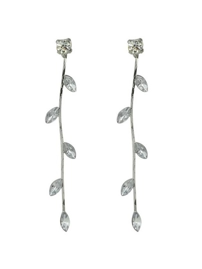 New Arrivals Rhinestone Leaf Shape Long Earrings