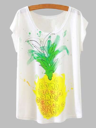 White pineapple Print Slub T-shirt