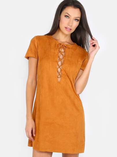 Lace Up Suede Mini Dress TAN