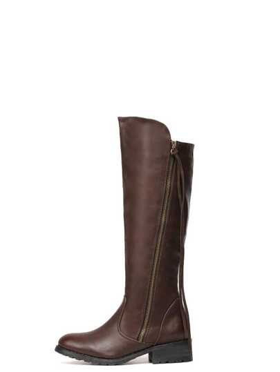 Brown Faux Leather Side Zipper Knee High Boots
