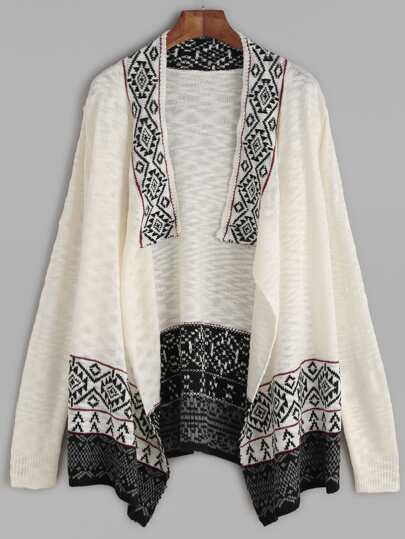 White Contrast Drape Collar Tribal Pattern Sweater Coat