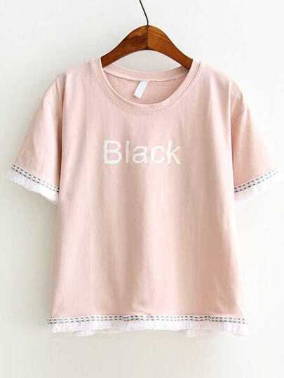 Pink Letter Print Embroidery Fringe Trim Tee