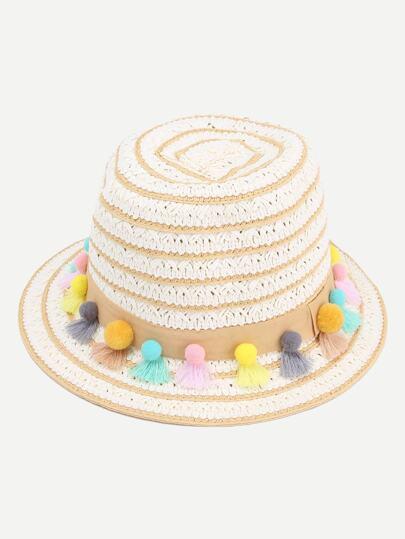 Yellow Striped Pom Pom Tassel Embellished Straw Hat