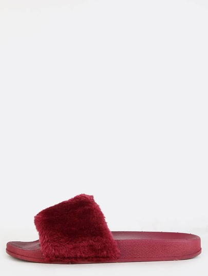 Open Toe Faux Fur Sandals WINE