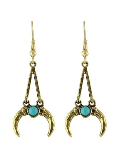 Antique Gold Vintage Design Moon Shape Long Pendant Earrings