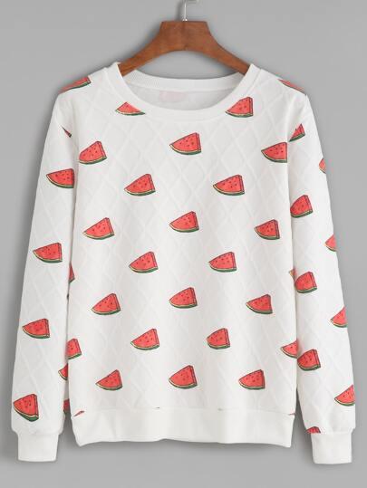 White Watermelon Print Quilted Sweatshirt